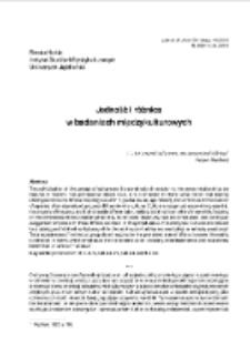 Jedność i różnica w badaniach międzykulturowych