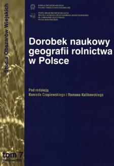 Dorobek naukowy geografii rolnictwa w Polsce