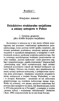 Dziedzictwo strukturalne socjalizmu a zmiany ustrojowe w Polsce