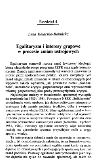 Egalitaryzm i interesy grupowe w procesie zmian ustrojowych