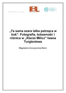 """""""Ta sama szara lalka patrząca wbok"""". Fotografia, tożsamość iróżnica w""""Klarze Milicz"""" Iwana Turgieniewa"""