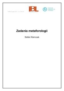 Zadania metaforologii