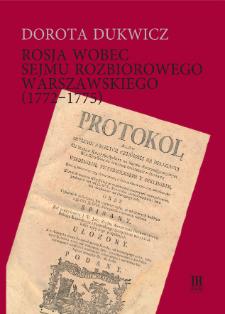 Rosja wobec sejmu rozbiorowego warszawskiego (1772-1775)