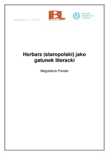 Herbarz (staropolski) jako gatunek literacki