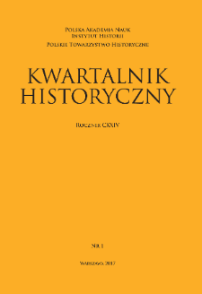 Kwartalnik Historyczny R. 124 nr 1 (2017), Title pages, Contents