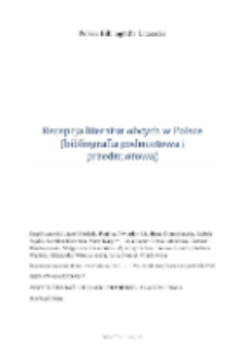 Polska Bibliografia Literacka: Recepcja literatur obcych w Polsce (bibliografia podmiotowa i przedmiotowa) - 2016