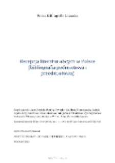 Polska Bibliografia Literacka: Recepcja literatur obcych w Polsce (bibliografia podmiotowa i przedmiotowa) - 2013