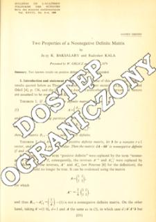Two properties of a nonnegative definite matrix