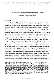 Autorytaryzm społeczeństwa polskiego w 1984 r.