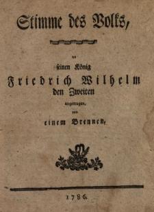 Stimme des Volks an seinen König Friedrich Wilhelm den Zweiten angetragen