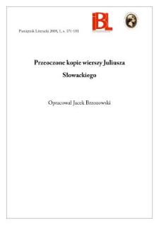 Przeoczone kopie wierszy Juliusza Słowackiego