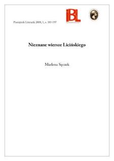 Nieznane wiersze Licińskiego