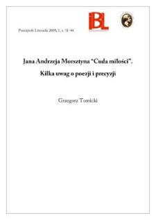 """Jana Andrzeja Morsztyna """"Cuda miłości"""" : kilka uwag o poezji i precyzji"""
