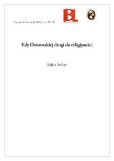 Edy Ostrowskiej drogi do religijności