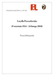 Lucylla Pszczołowska (9 września 1924 – 24 lutego 2010)