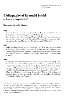 Bibliography of Romuald Schild – from 2005–2016