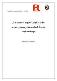 """""""De acuto et arguto"""", czyli o kilku manierystycznych nowelach Karola Irzykowskiego"""
