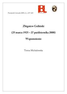 Zbigniew Goliński (25 marca 1925 – 27 października 2008). Wspomnienie