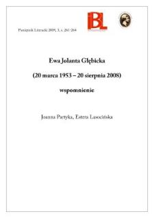 Ewa Jolanta Głębicka (20 marca 1953 – 20 sierpnia 2008) - wspomnienie