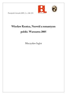Wiesław Rzońca, Norwid a romantyzm polski. Warszawa 2005