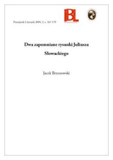 Dwa zapomniane rysunki Juliusza Słowackiego
