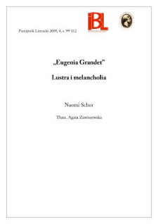 """Eugenia Grandet"". Lustra i melancholia"