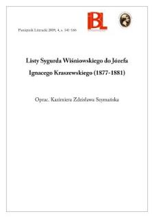 Listy Sygurda Wiśniowskiego do Józefa Ignacego Kraszewskiego (1877–1881)