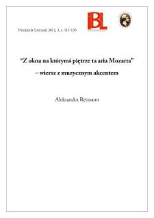 """""""Z okna na którymś piętrze ta aria Mozarta"""" – wiersz z muzycznym akcentem"""