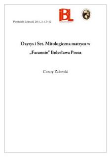 """Ozyrys i Set. Mitologiczna matryca w """"Faraonie"""" Bolesława Prusa"""