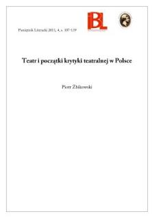 Teatr i początki krytyki teatralnej w Polsce