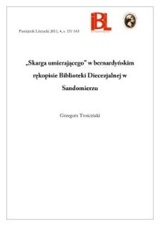 """""""Skarga umierającego"""" w bernardyńskim rękopisie Biblioteki Diecezjalnej w Sandomierzu"""