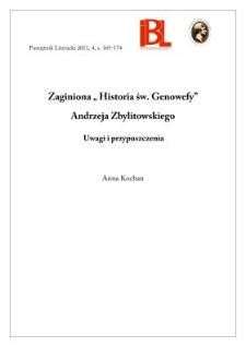 """Zaginiona """"Historia św. Genowefy"""" Andrzeja Zbylitowskiego. Uwagi i przypuszczenia"""