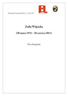 Zofia Wójcicka (20 marca 1931 – 28 czerwca 2011)