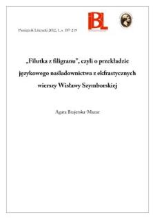 Filutka Z Filigranu Czyli O Przekładzie Językowego