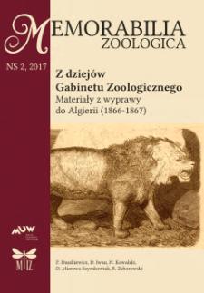 Z dziejów Gabinetu Zoologicznego : materiały z wyprawy do Algierii (1866-1867)