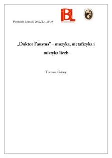 """Doktor Faustus"" – muzyka, metafizyka i mistyka liczb"