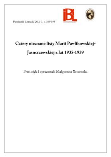 Cztery nieznane listy Marii Pawlikowskiej-Jasnorzewskiej z lat 1935–1939