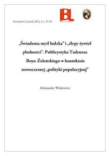 """""""Świadoma myśl ludzka"""" i """"ślepy żywioł płodności"""". Publicystyka Tadeusza Boya-Żeleńskiego w kontekście nowoczesnej """"polityki populacyjnej"""""""