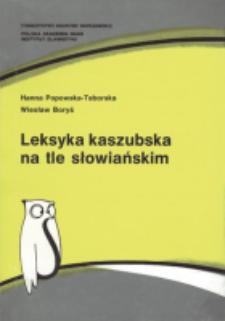 Leksyka kaszubska na tle słowiańskim