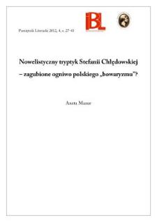"""Nowelistyczny tryptyk Stefanii Chłędowskiej – zagubione ogniwo polskiego """"bowaryzmu""""?"""