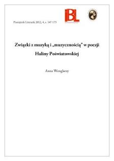 """Związki z muzyką i """"muzycznością"""" w poezji Haliny Poświatowskiej"""