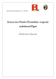 Jeszcze raz o Prusie i Żeromskim: czego nie wydrukował Pigoń