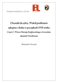 Z Kroniki Do Sylwy Wokół Problemów Rękopisu I Druku W
