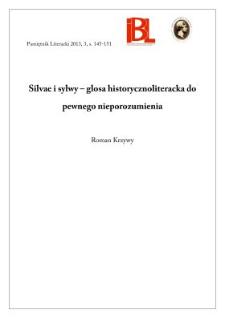 Silvae i sylwy – glosa historycznoliteracka do pewnego nieporozumienia