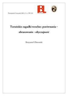 Toruńskie zagadki weselne: porównania – obrazowanie – obyczajność