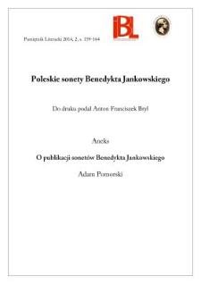 Poleskie sonety Benedykta Jankowskiego