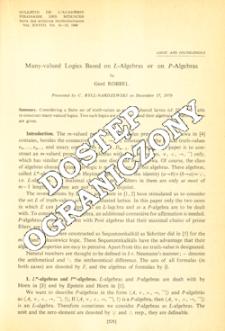 Many-valued logics based on L-algebras or on P-algebras
