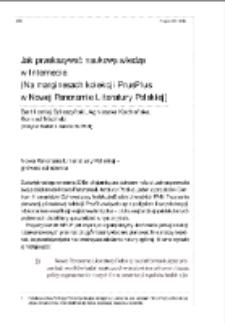 Jak przekazywać naukową wiedzę w Internecie. (Na marginesach kolekcji PrusPlus w Nowej Panoramie Literatury Polskiej)