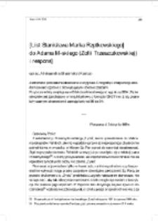 [List Stanisława Marka Rzętkowskiego do Adama M-skiego (Zofii Trzeszczkowskiej) i respons]