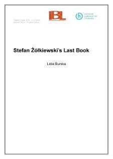 Stefan Żółkiewski's last book